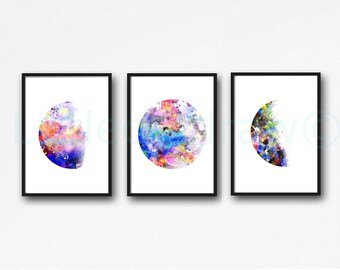 Moon Phase Print Set Of 3 Watercolor Painting Prints Colorful Moon Print Bedroom Wall Decor Lunar Moon Print Home Decor Moon Wall Art Prints