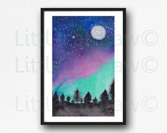 Landscape Print Aurora Borealis Night Sky Forest Watercolor Painting Print Forest Wall Art Print Landscape Sky Forest Home Decor Wall Decor