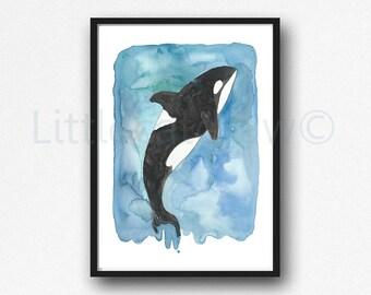 Orca Under The Sea Print Watercolor Painting Print Nautical Decor Whale Wall Art Orca Print Beach Decor Whale Lover Gift