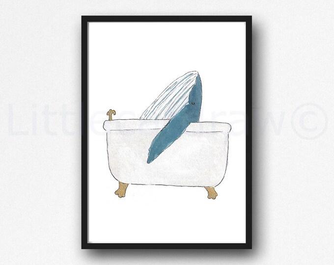Whale Print Bath Time Whale Watercolor Painting Print Wall Art Bathroom Decor Bathtub Bath Tub Wall Decor Art Print Whale Lover Gift
