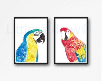 Bird Print Set of 2 Macaw Print Watercolor Painting Print Bird Art Parrot Home Decor Living Room Decor Animal Art Prints Bird Decor