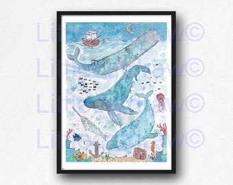 Whale Print Whales Under The Sea Starry Night Watercolor Painting Whale Art Nautical Print Whales Illustration Bathroom Wall Art Wall Decor