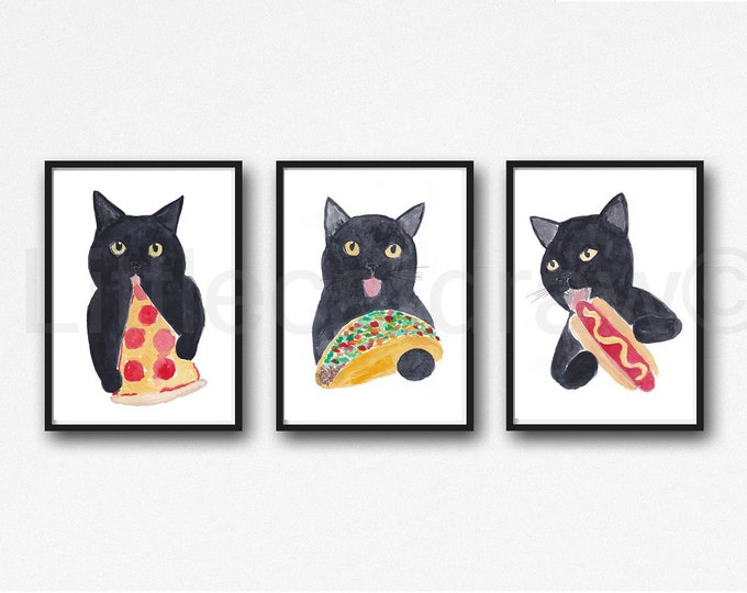 Cat Print Set of 3 Food Lover Cats Watercolor Painting Art Prints Pizza Taco Hot Dog Cat Wall Decor Wall Art Cat Lover Gift Art Prints
