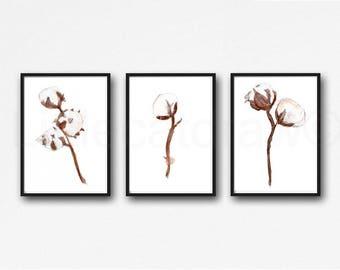 Cotton Bolls Print Set Of 3 Watercolor Painting Print Flower Art Home Decor Wall Art Cotton Plant Living Room Decor Cotton Anniversary Gift