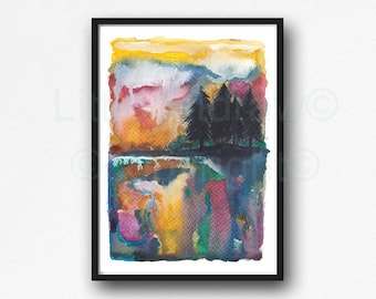Forest Print Landscape Watercolor Painting Print Forest Wall Art Forest Art Gift Art Print Wall Decor Forest Bedroom Wall Decor