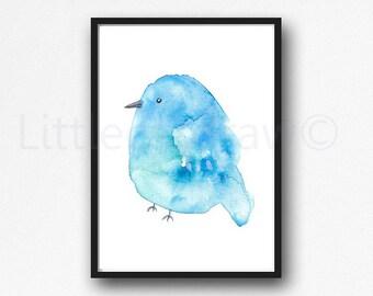 Bird Print Little Blue Bird Watercolor Painting Print Cute Bird Art Print Bedroom Wall Decor Wall Art Home Decor