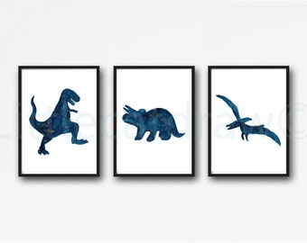 Dinosaur Print Set Of 3 Dark Blue Navy Jurassic Art Prints Watercolor Wall Art Dinosaurs Home Decor Dinosaur Geek Art Print Unframed