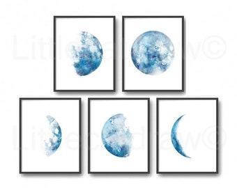 Moon Phase Print Set of 5 Watercolor Prints Luna Minimalist Blue Lunar Phases Moon Art Home Decor 5 Art Prints Wall Art Wall Decor Unframed