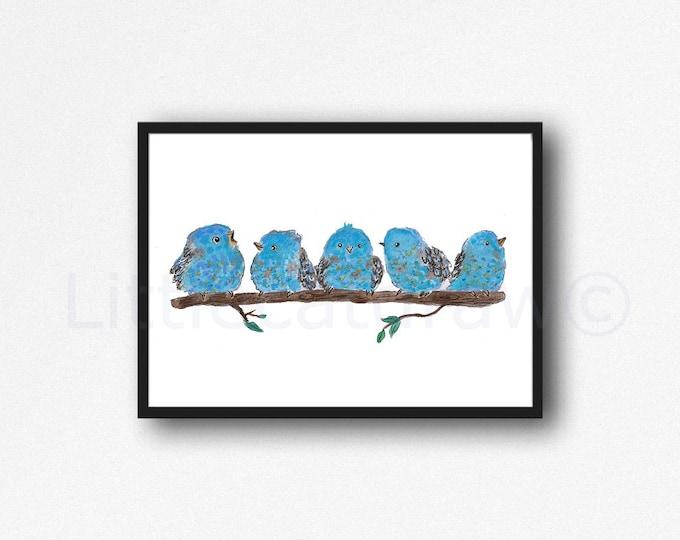 Bird Print Blue Bird Family Watercolor Painting Print Bluebirds Print Bird Wall Art Living Room Decor Wall Decor Home Decor