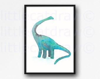 Dinosaur Print Diplodocus Watercolor Painting Print Teal Green Art Print Wall Art Dinosaur Gift Geek Wall Decor Art Home Decor