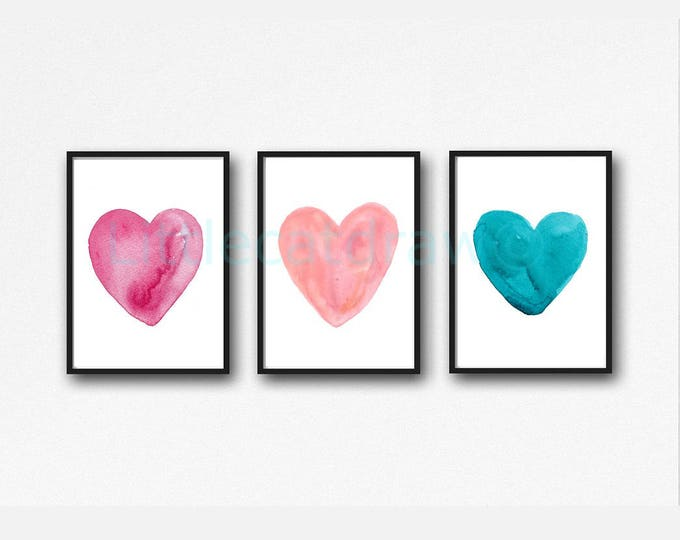 Love Hearts Print Set of 3 Watercolor Painting Print Romantic Love Heart Sweet Home Decor Bedroom Wall Decor Heart Wall Art Prints Unframed