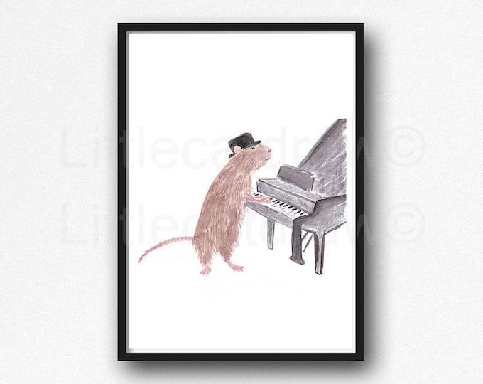 Piano Rat Print Rat Watercolor Painting Print Rat Wall Decor Music Lover Piano Art Wall Art Keyboard Print Music Art Print