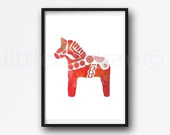 Dala Horse Print Horse Watercolor Painting Print Scandinavian Swedish Dala Horse Print Horse Lover Gift Horse Kitchen Wall Decor Wall Art