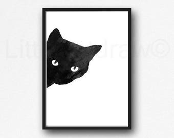 PEEKABOO CAT PRINT Black Cat Watercolor Cat Art Black Cat Watercolor Painting Print Watercolour Wall Art Watercolor Wall Decor