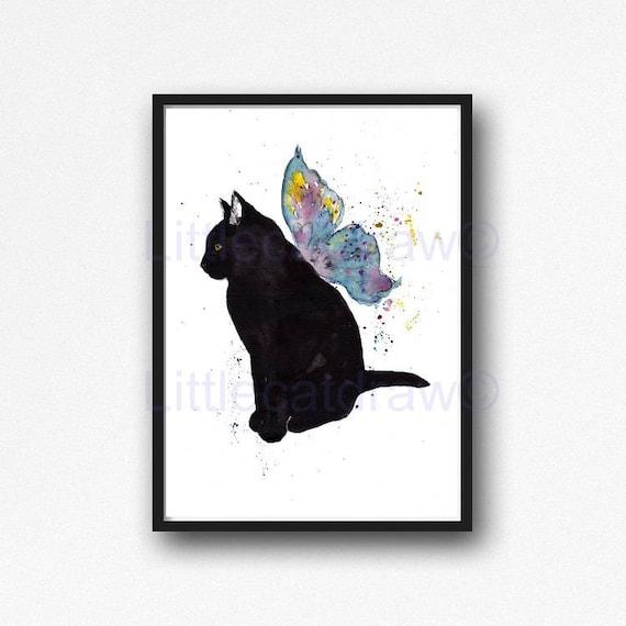 FunnyCat Art Cat Poster Pet Print  Queer cat Cat China Ink Painting Cat Lover Gift Black Cat Print Cat Wall Art Cat Wall Print