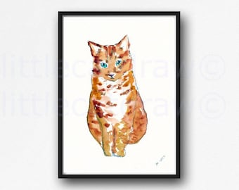 Cat Print Little Ginger Tabby Cat Print Art Watercolor Painting Print Orange Cat Wall Art Cat Lover Gift Cat Decor Wall Decor