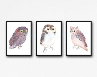 Owl Print Bird Print Owl Watercolor Painting Print Wall Art Wall Decor Bird Decor Woodland Animal Owl Gift Home Decor
