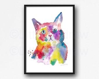 Cat Print Rainbow Cat Portrait Watercolor Painting Print Cat Wall Art Home Decor Wall Decor Rainbow Cat Print Cat Lover Gift Cat Painting