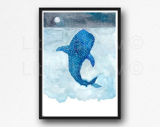 Whale Shark Watercolor Painting Print Whaleshark Under The Moon Wall Art Whale Print Wall Decor Nautical Decor Home Decor Art Print