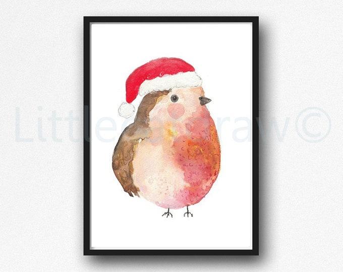 Christmas Robin Watercolor Painting Print Robin Print Wall Art Home Decor Bird Print Wall Decor Chubby Red Robin Bird Decor Bird Painting
