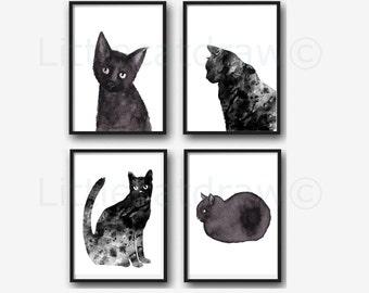 Black Cat Print Set Of 4 Wall Art Prints Cat Lover Gift Black Cat Decor Cat Prints Watercolor Painting Print Wall Decor Home Decor Unframed