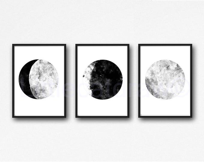 Moon Phases Print Set of 3 Black and White Watercolor Prints Celestial Bedroom Wall Decor Wall Art Luna Black White Lunar Phases Home Decor
