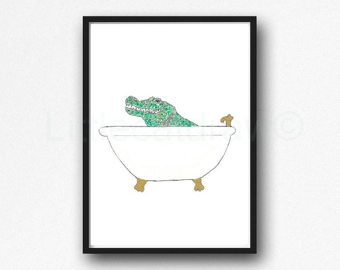Crocodile Print Bath Time Crocodile Watercolor Painting Print Wall Art Bathroom Decor Bathtub Bath Tub Wall Decor Art Print Lover Gift