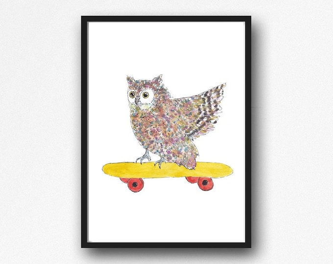 Owl Print Owl On A Skateboard Watercolor Painting Print Owl Lover Gift Owl Decor Bedroom Wall Decor Owl Painting Wall Art