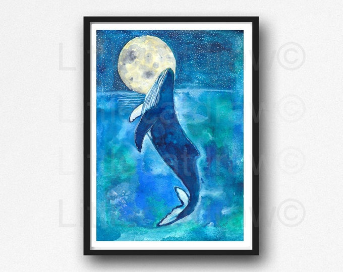 Whale Under The Moon Print Watercolor Painting Print Whale Print Nautical Decor Humpback Wall Art Home Decor Beach Wall Decor Whale Art