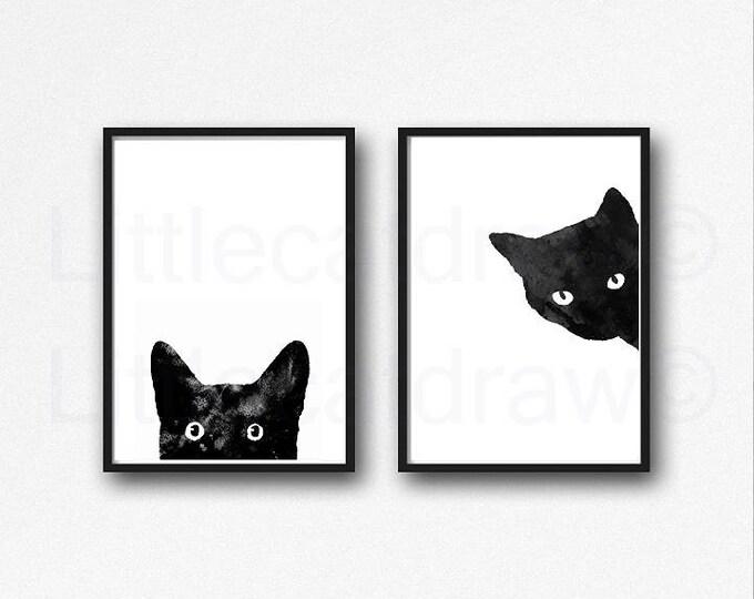 Black Cat Print Set Of 2 Painting Print Cat Lover Gift Cat Decor Cat Art Bedroom Decor Print Wall Art Home Decor