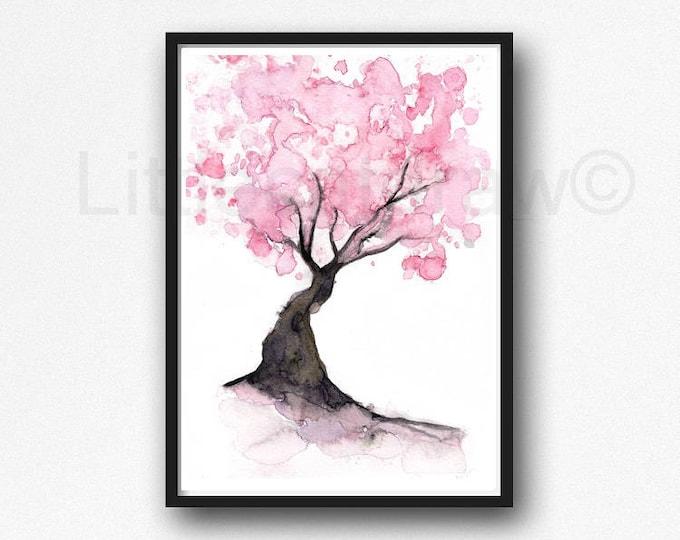 Cherry Blossom Tree Watercolor Painting Print Bedroom Wall Decor Sakura Art Gift Pink Decor Home Decor Cherry Blossom Watercolor Unframed