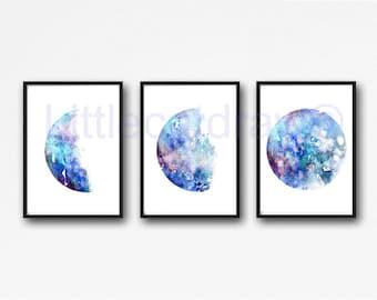 Moon Phase Print Set of 3 Watercolor Prints Luna Blue Galaxy Decor Lunar Phases Moon Art Home Decor 3 Art Prints