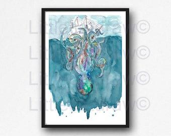 Kraken Print Sea Watercolor Painting Sea Monster Art Kraken Wall Art Ocean Illustration Sea Bathroom Squid Wall Art Kraken Wall Decor