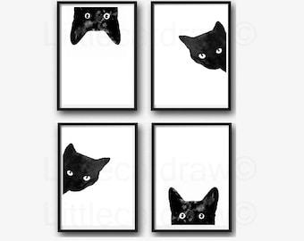 Black Cat Print Set Of 4 Watercolor Prints Cat Art Illustration Cat Lover Gift Black and White Minimalist Home Decor Art Prints Wall Art