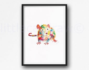 Rat Print Watercolor Painting Print Year Of The Rat Zodiac Animal Art Rat Lover Gift Art Print Bedroom Wall Decor Wall Art Home Decor