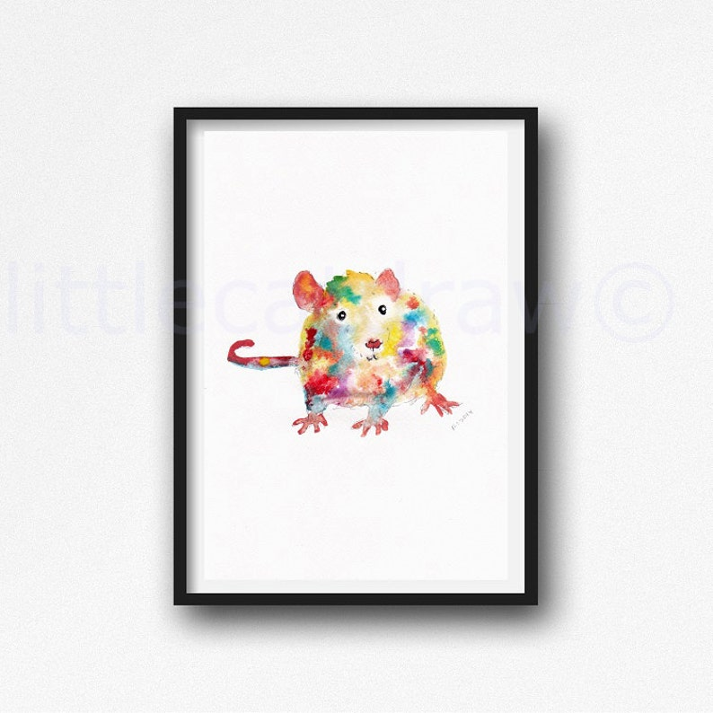 Rat Print Watercolor Painting Print Year Of The Rat Zodiac image 1