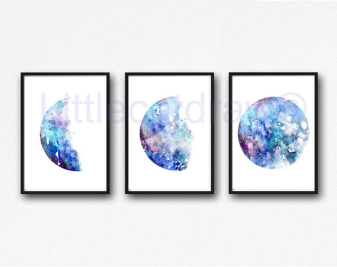 Moon Art Print Set of 3 Moon Watercolor Painting Print Celestial Moons Phases Print Gift Wall Decor Home Decor Wall Luna Art Prints Lunar