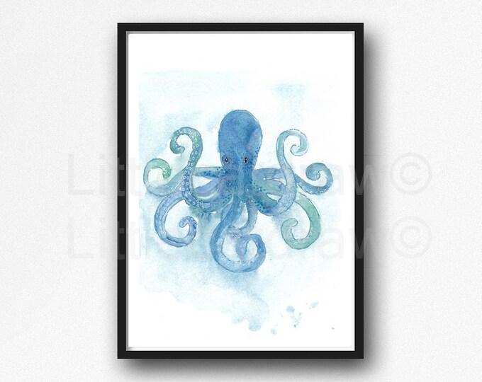 Kraken Print Blue Sea Watercolor Painting Sea Monster Art Kraken Wall Art Ocean Illustration Sea Bathroom Squid Wall Art Kraken Wall Decor