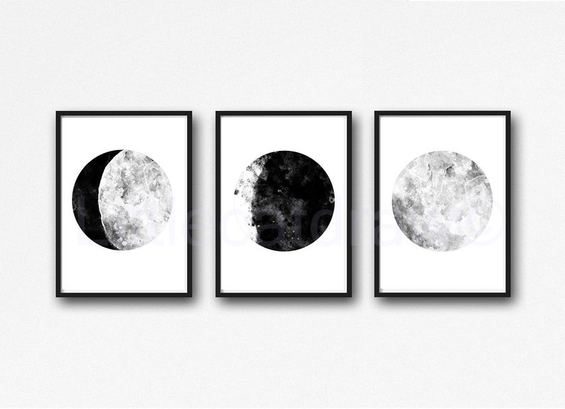 Moon Set of 3 Art Prints Pick Your Color Moon Watercolor Black and White