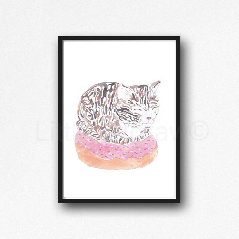 Cat Print Tabby Cat Loaf on a Donut Watercolor Painting Print Cat Lover Gift Cat Decor Bedroom Wall Decor Cat Painting Food Wall Art