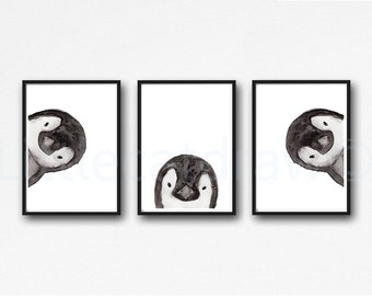 Penguin Print Set of 3 Prints Peekaboo Watercolor Painting Print Peekaboo Animals Wall Art Wall Decor Penguin Gift Art Prints Unframed