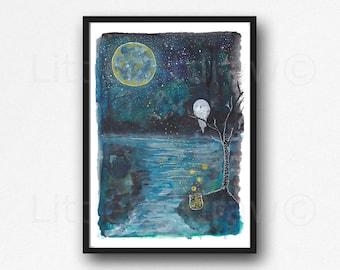 Firefly Print Watercolor Painting Print Fireflies Night Moon River Owls Print Owl Wall Art Print Home Decor Wall Decor