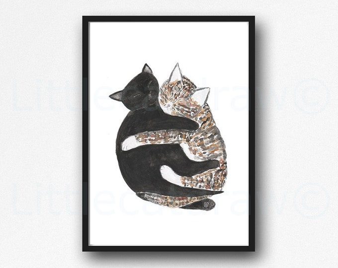 Cat Print Cuddling Tabby And Black Cats Watercolor Painting Print Cat Lover Gift Wall Art Print Cat Wall Decor Bedroom Decor Unframed