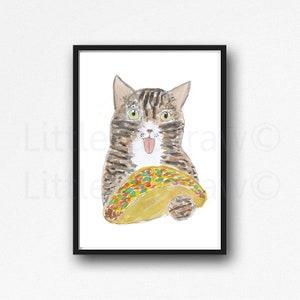 Cat Print Black Cat Eating A Taco Watercolor Painting Print Cat Lover Gift Cat Decor Bedroom Wall Decor Cat Painting Food Wall Art