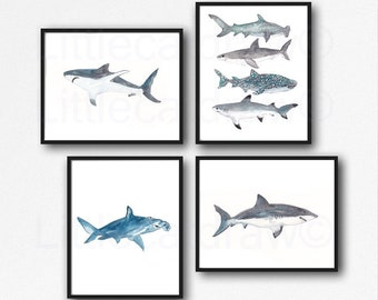 Shark Print Set of 4 Watercolor Painting Print Nautical Print Bathroom Decor Beach Decor Shark Wall Art Shark Week Art Print Wall Decor