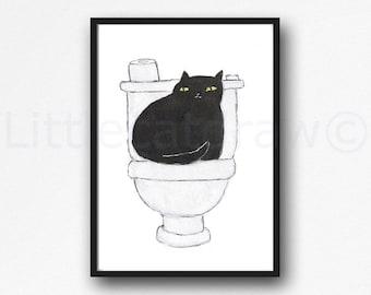 Cat Print Toilet Time Cat Watercolor Painting Print Wall Art Bathroom Decor Toilet Loo Wall Decor Art Print Cat Lover Gift