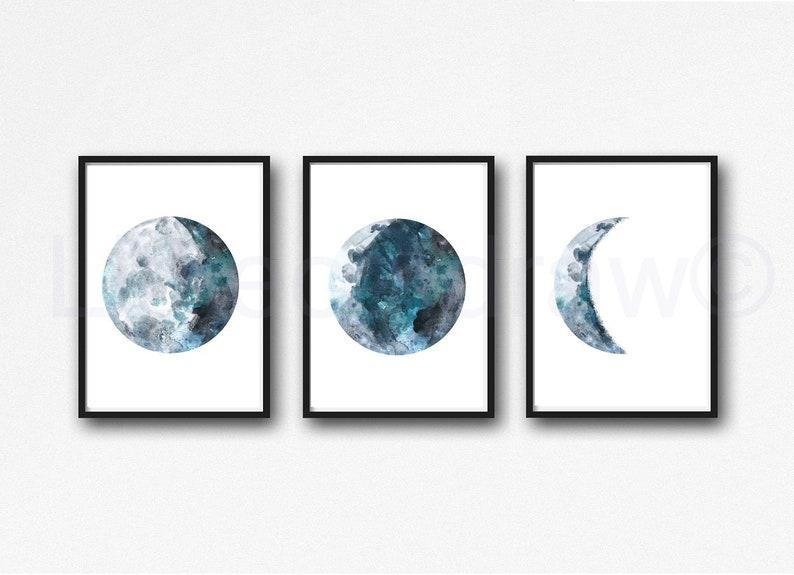 Moon Art Print Set of 3 Moon Watercolor Painting Print Teal Grey