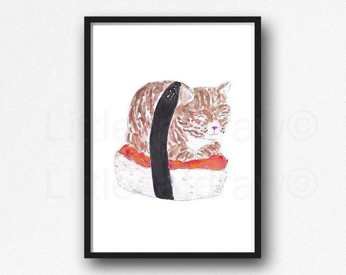 Tabby Cat Print Sushi Lover Print Watercolor Painting Wall Art Sushi Cat Art Print Kitchen Art Cat Print Wall Decor Art Print