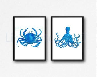 Octopus And Crab Set Of 2 Prints Watercolor Painting Print Blue Beach Decor Wall Art Nautical Print Wall Decor Octopus Crab Art Print