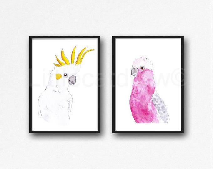 Bird Print Set of 2 Sulphur-Crested Cockatoo and Galah Watercolor Painting Print Bird Print Parrot Bird Gift Bird Wall Decor Bird Unframed